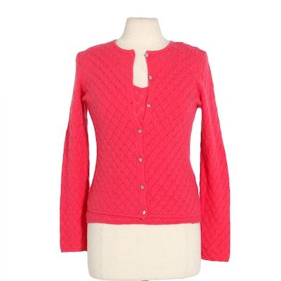 Les Copains Coral Cashmere Knit Sweater Set