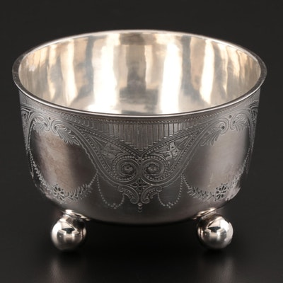 William Hutton & Sons Engraved Sterling Silver Ball-Footed Waste Bowl, 1879