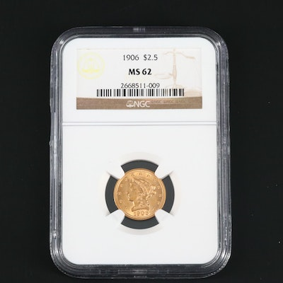 NGC Graded MS62 1906 Liberty Head $2 1/2 Gold Coin