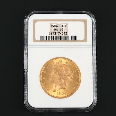 NGC Graded MS63 1904 Liberty Head $20 Gold Coin