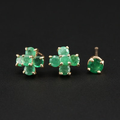 14K Yellow Gold Emerald Cluster Earrings with Single 14K Emerald Stud