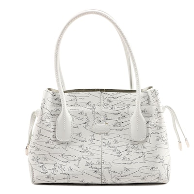 Tod's D-Styling Water Ski White Leather Tote Bag