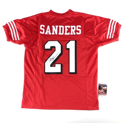 Deion Sanders Signed San Francisco 49ers Replica Jersey  COA