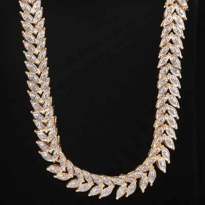 Sterling Silver Diamond Necklace With Leaf Motif