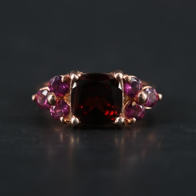 Sterling Silver Garnet and Pink Tourmaline Ring