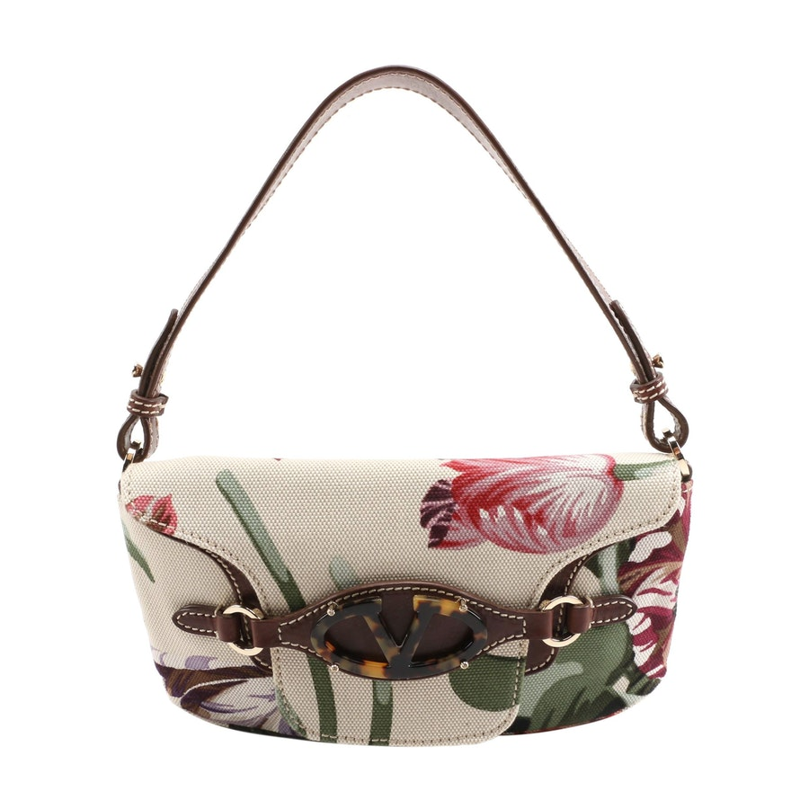 Valentino Garavani Floral Canvas and Brown Leather Baguette