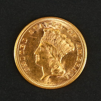 First Year of Issue 1854 Indian Head Princess $3 Gold Coin Pendant