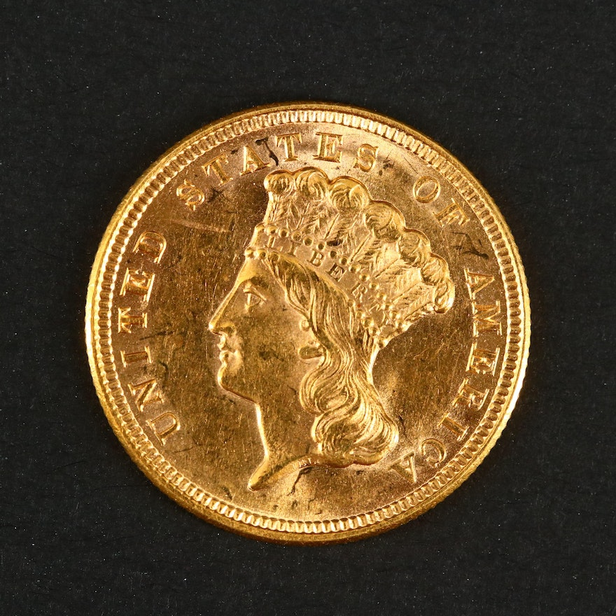 First Year of Issue 1854 Indian Head Princess $3 Gold Coin