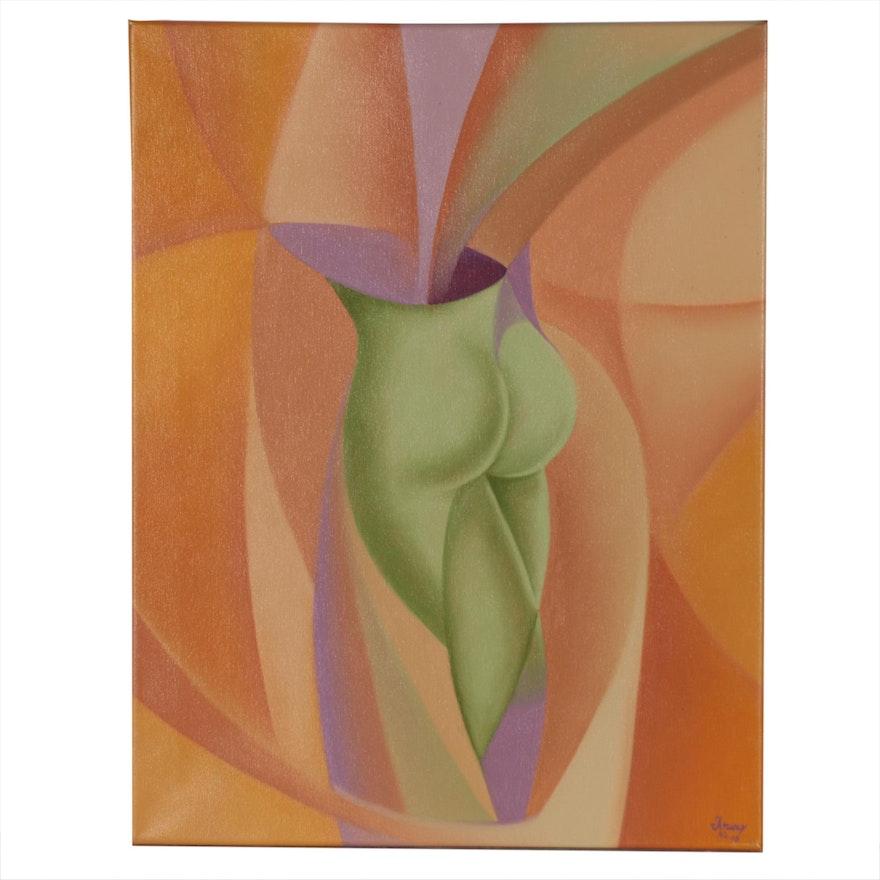 """Gerardo Arias Acrylic Painting """"Woman's Metamorphosis"""""""