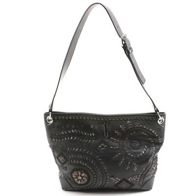 Oscar de la Renta Black Leather Shoulder Bag with Metal and Embroidered Accents