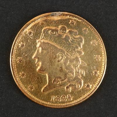 "1834 Classic Head ""Plain 4"" Variety $5 Gold Coin"