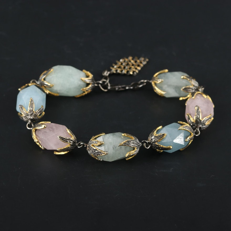Sterling Silver Pink, Blue, and Green Beryl Bracelet