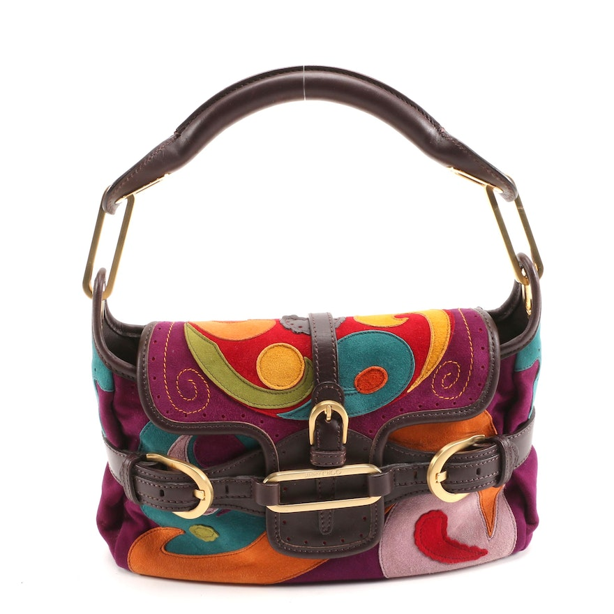 Jimmy Choo Multicolor Patchwork Suede Tulita Small Flap Bag