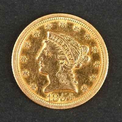 1854-O Liberty Head $ 2 1/2 Gold Coin