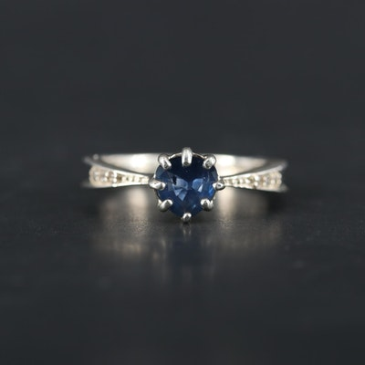 Sterling Silver Sapphire and White Topaz Ring