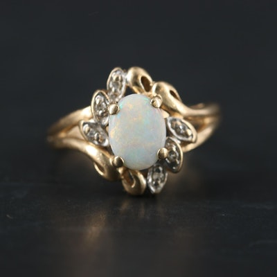10K Yellow Gold Opal and Diamond Ring