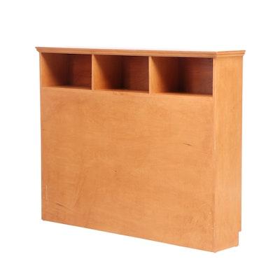Maple Laminate Pocket Shelf Full Sized Headboard, Mid to Late 20th Century