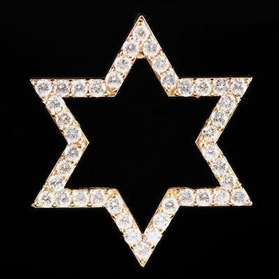 14K Yellow Gold 2.10 CTW Diamond Star of David Pendant