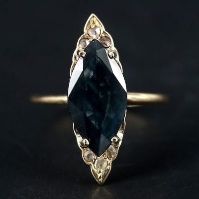 14K Yellow Gold 2.55 CT Sapphire and Diamond Ring
