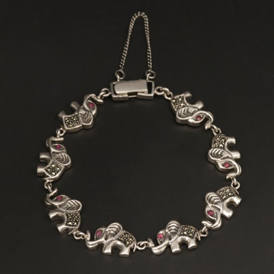 Sterling Silver Ruby and Marcasite Elephant Motif Link Bracelet