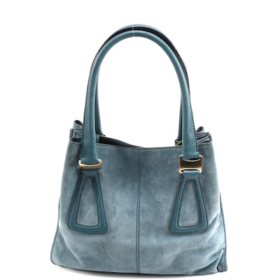 Tod's Aqua Blue Suede and Leather Tote Bag