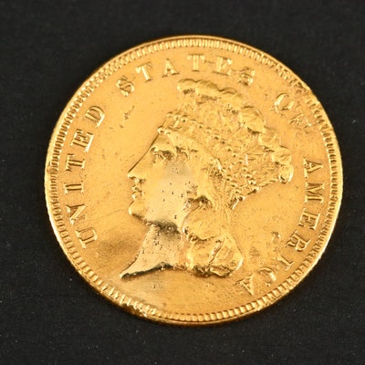1855 Indian Princess Head $3 Gold Coin