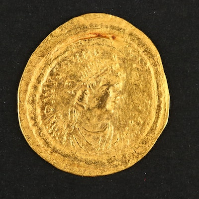 Ancient Byzantine Gold Semissis of Justinian I, ca. 530 A.D.
