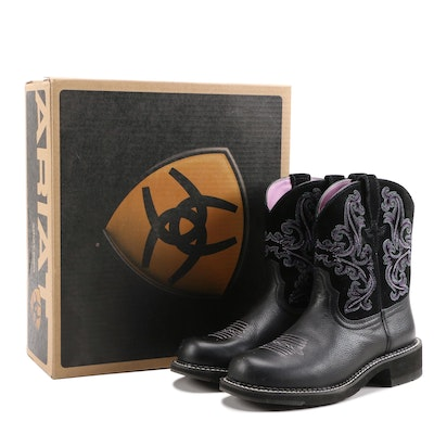 Ariat Fatbaby II Black Leather and Suede Western Style Boots