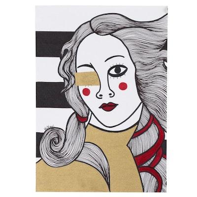 "HiKari Acrylic and Ink Painting ""Venus"""