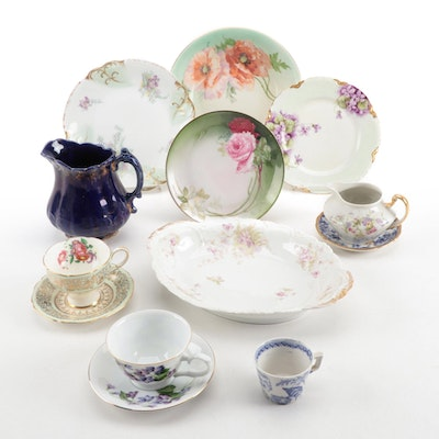 European Floral Dinnerware and Serving Pieces Including Limoges