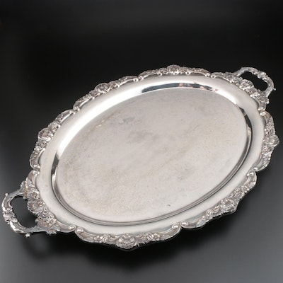 Bristol Silver Victorian Style Silver Plate Oval Butler's Tray