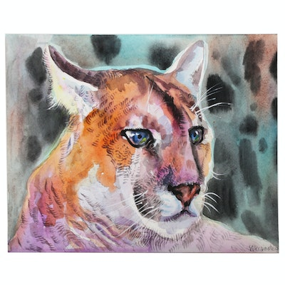Watercolor Painting of a Mountain Lion
