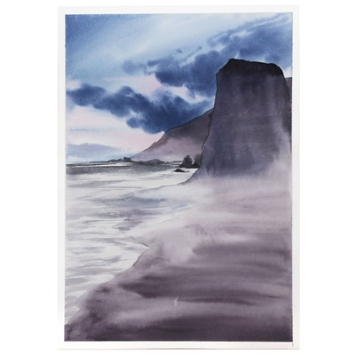 Watercolor Painting of a Seascape