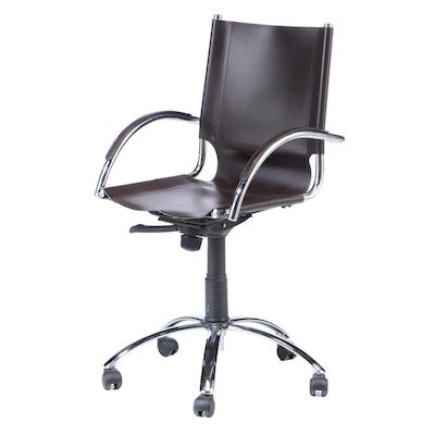 West Elm Italian Leather and Chrome Swivel Adjustable Height Chair
