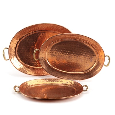 Hammered Copper and Brass Serving Trays