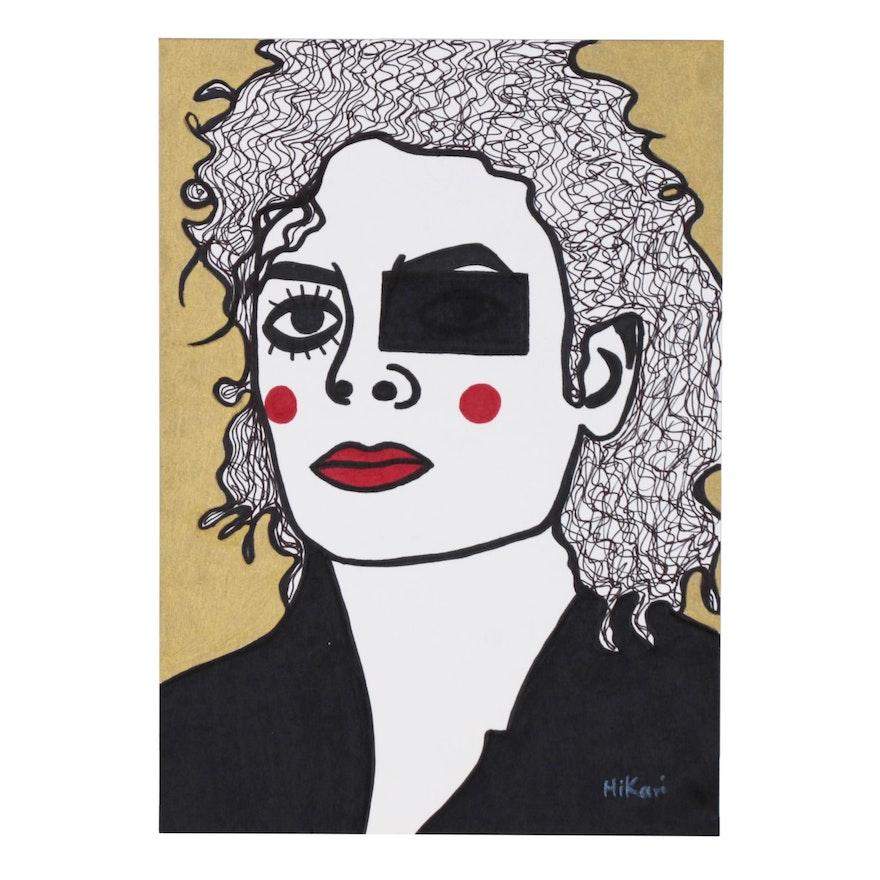 "HiKari Ink and Acrylic Painting ""Michael Jackson"""
