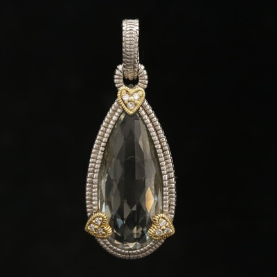 "Judith Ripka ""JR Two"" Sterling Silver Praseolite and Diamond Enhancer Pendant"