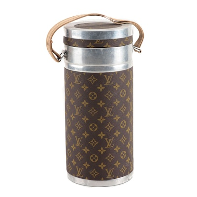Louis Vuitton Coated Canvas and Metal Thermos, Vintage