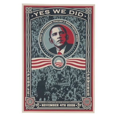 "Shepard Fairey Offset Print ""Yes We Did"""