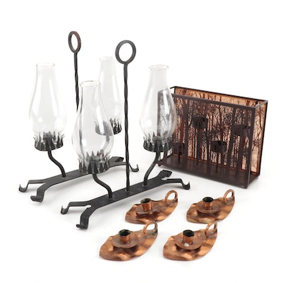 Hammered Copper Chambersticks, Hurricane Candle Holders, and More