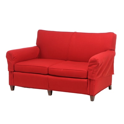 Transitional Style Upholstered Love Seat, Contemporary