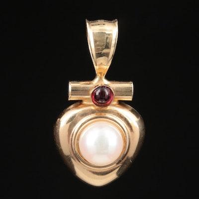 14K Yellow Gold Pearl and Rhodolite Garnet Pendant