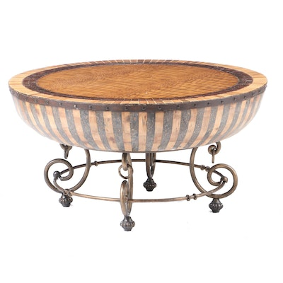 Faux Aligator and Wood Top Round Barrel Shaped Coffee Table