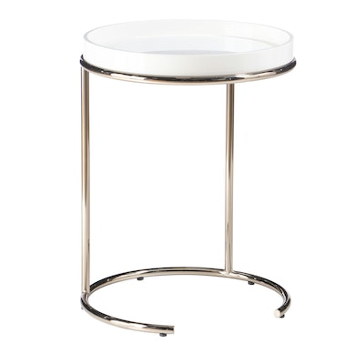 Acrylic Tray Top and Chrome Side Table, Contemporary Modern