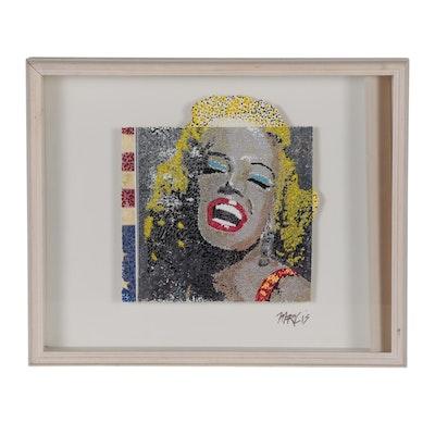 Ricardo Marlis Embellished Photomechanical Print of Marilyn Monroe