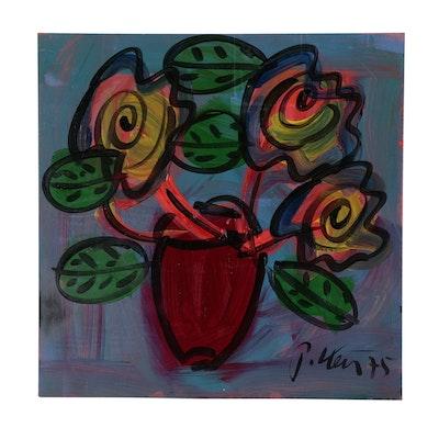 """Peter Keil Oil Painting """"Flowers"""", 1975"""