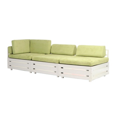 Contemporary Modern Lime Green Upholsered Sectional Sofa