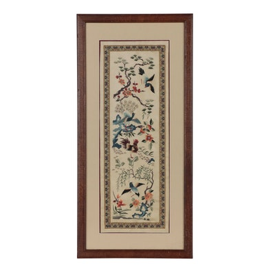 Chinese Bird and Flower Silk Embroidery Panel