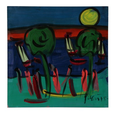 "Peter Keil Oil Painting ""Lake I"", 1975"