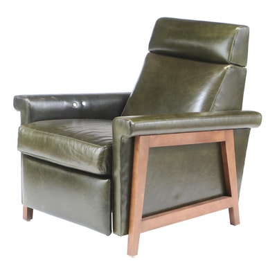 "Mitchell Gold + Bob Williams ""Arlen"" Green Leather Electric Recliner"